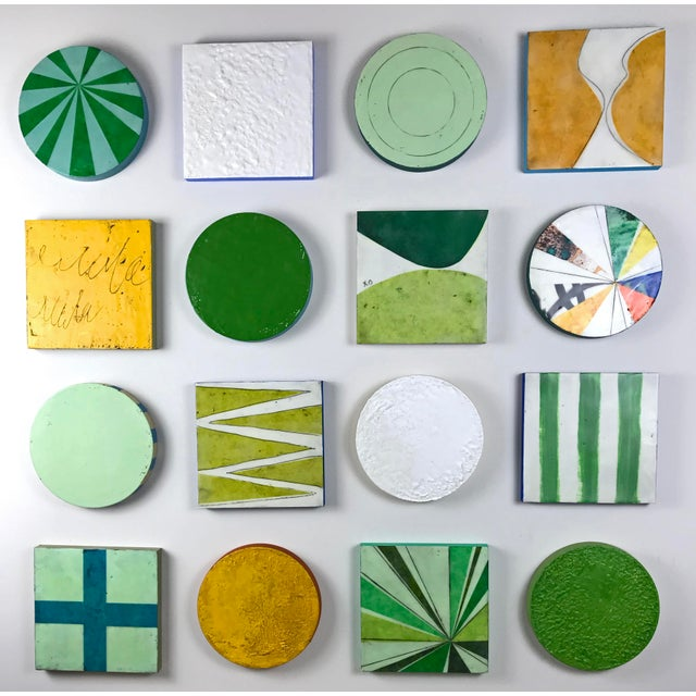 """Contemporary Encaustic Collage Installation by Gina Cochran """"Grasshopper"""" - 16 Pieces For Sale - Image 3 of 9"""