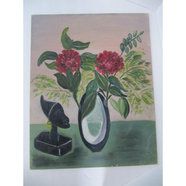 Mid-Century Still Life Painting With Flowers - Image 3 of 8