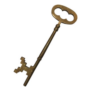 1970s Vintage Brass Skeleton Key For Sale