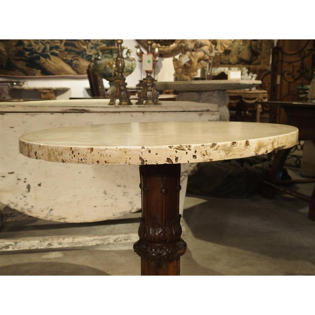 Antique Circular Genoese Carved Wood and Marble Table, Circa 1820 For Sale - Image 11 of 13