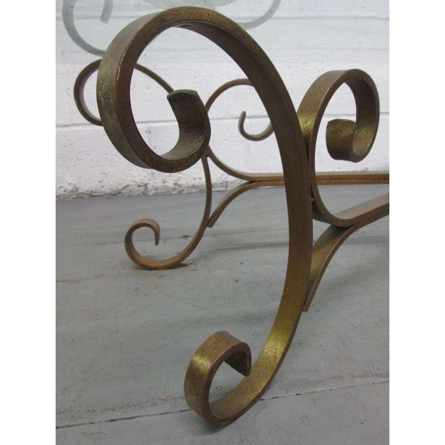 1960s French Gilded Wrought Iron Coffee Table For Sale - Image 5 of 5
