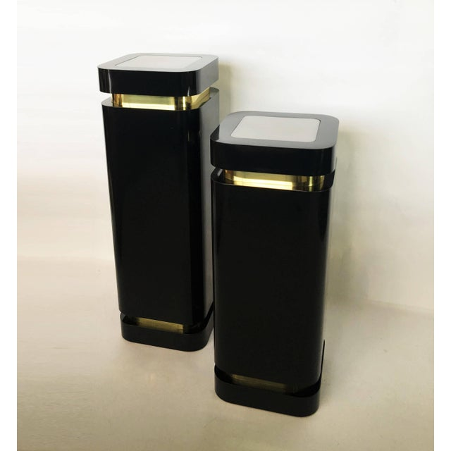 Black Pair of Black Lacquer and Brass Pedestals For Sale - Image 8 of 8