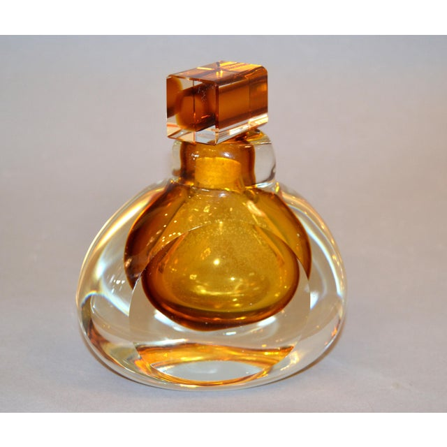 Murano Vintage Clear & Amber Controlled Bubbles Murano Art Glass Perfume Bottle Italy For Sale - Image 4 of 13