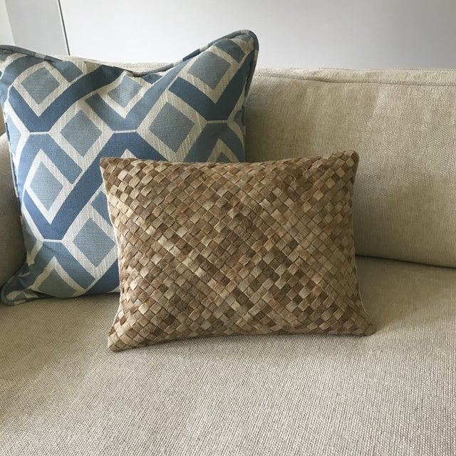 Williams Sonoma Woven Leather Hide Throw Pillow For Sale - Image 5 of 5