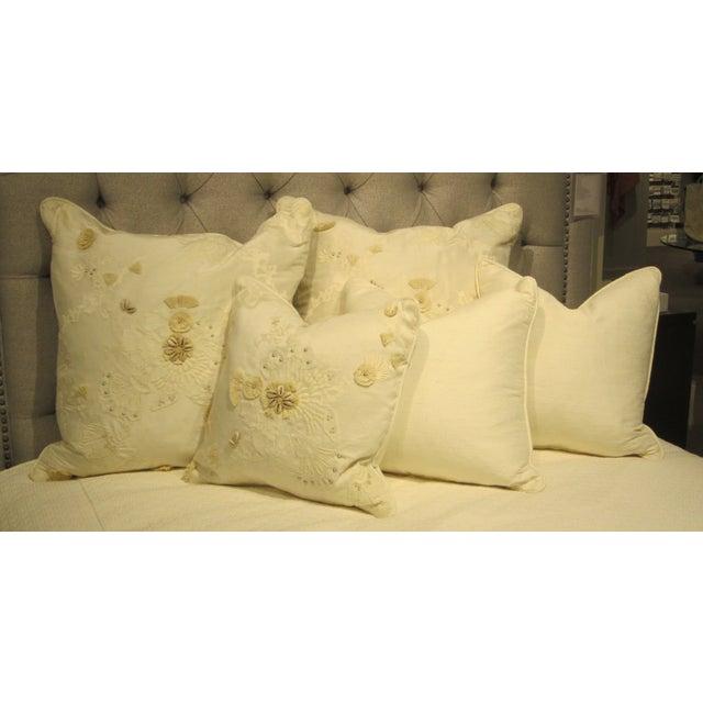 White & Tan Decorative Pillows - Set of 5 - Image 2 of 7