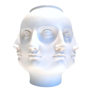 """Fornasetti Style """"Perpetual Face"""" Pottery Vase"""