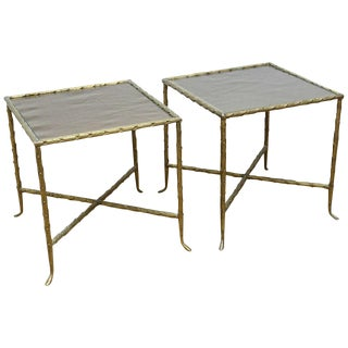 Pair of Bagues Style Bronze and Bronze Mirrored Side Tables For Sale