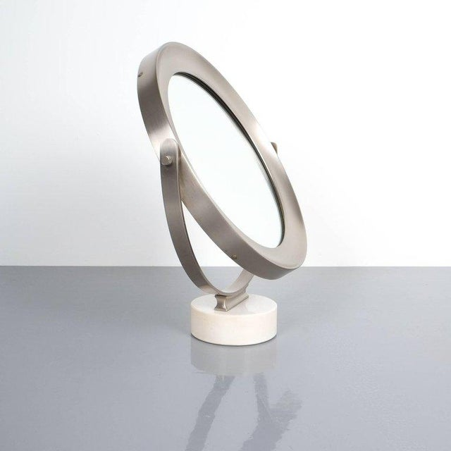 Italian Sergio Mazza Large Swivel Marble Table Mirror, Italy, 1960 For Sale - Image 3 of 7