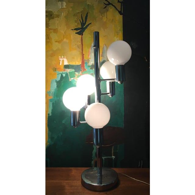 Mid Century Chrome Waterfall 5 Globe Lamp For Sale In New York - Image 6 of 10