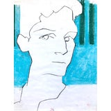 "Image of Contemporary Portrait Drawing in Charcoal and Pastel, ""Self-Portrait, Blue and Green Line"", by Artist David O. Smith For Sale"