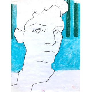 "Contemporary Portrait Drawing in Charcoal and Pastel, ""Self-Portrait, Blue and Green Line"", by Artist David O. Smith For Sale"