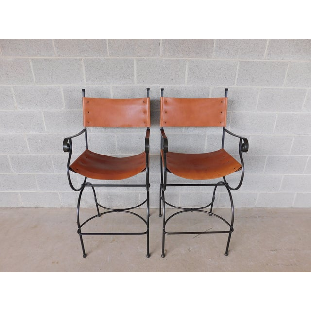 Charleston Forge Wrought Iron Slight Leather Seat Bar Stools - a Pair For Sale - Image 13 of 13