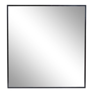 Modern Blackened Oak Square Mirror For Sale