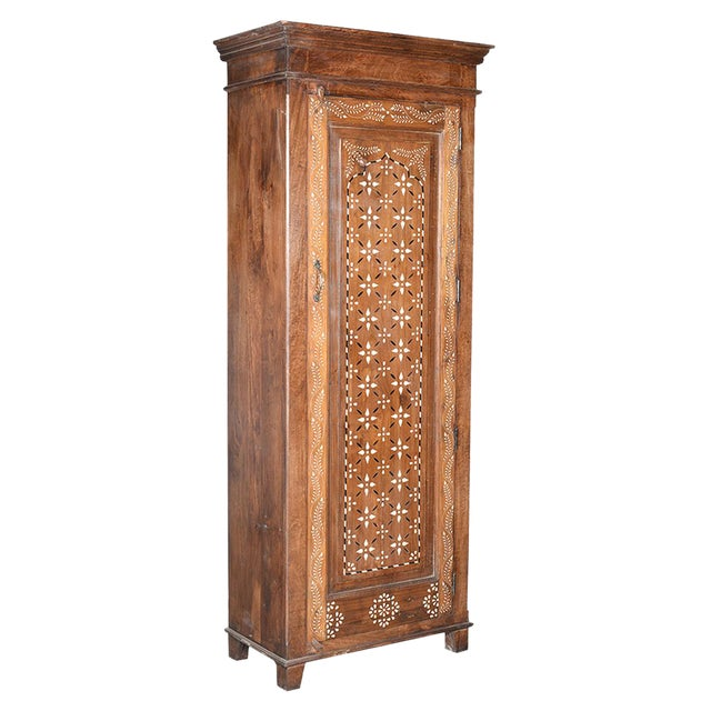 Old Teak Inlay Cabinet For Sale