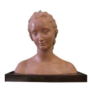 Vintage Art Deco Terra-Cotta Female Head For Sale