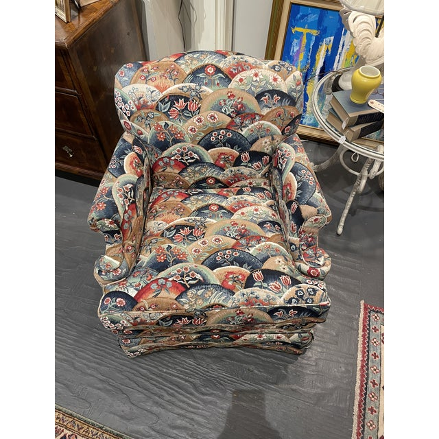 This is a lovely petite club chair. It was reupholstered with vintage fabric and has been barley used. It is in excellent...