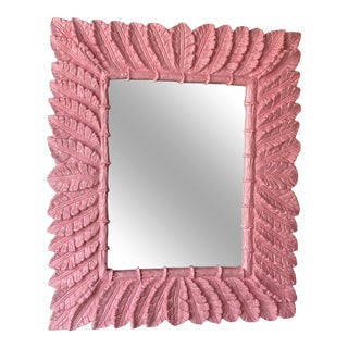 Vintage Palm Beach Coral Pink Lacquered Palm Leaf Large Wall Mirror For Sale