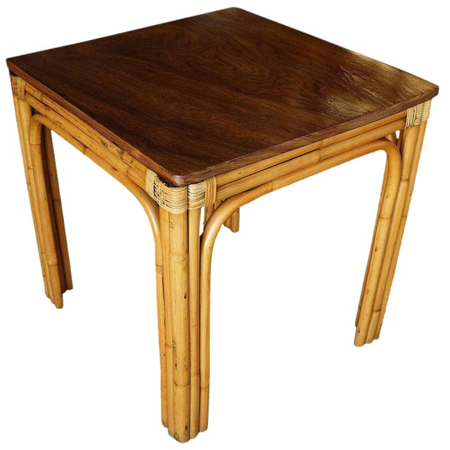 Mid-Century Four Person Rattan and Mahogany Dining Table - Image 1 of 6