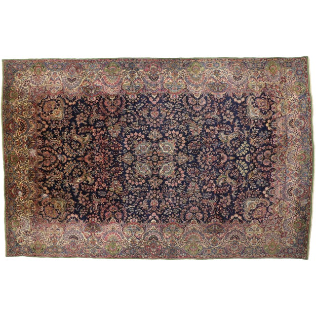 """Early 20th Century Antique Persian Kirman Palace Size Rug - 11' X 17'4"""" For Sale - Image 5 of 10"""