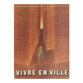 Jean Michel Folon Original French Poster, Vivre en Ville