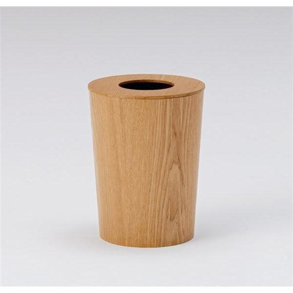 Japanese Bamboo Wood Waste paper Basket Bin With Lid Circular - Image 2 of 6