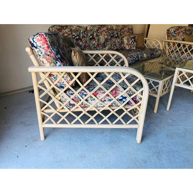 Hollywood Regency Style Rattan/Bamboo Patio Set of 5 For Sale In New York - Image 6 of 9