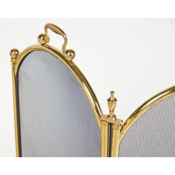 Brass Vintage French Neoclassical Brass Fire Screen For Sale - Image 7 of 10