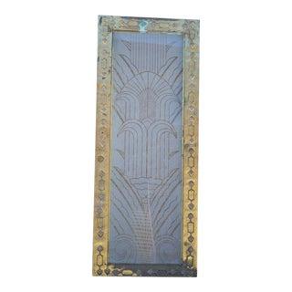 Art Deco Brass & Etched Glass Door