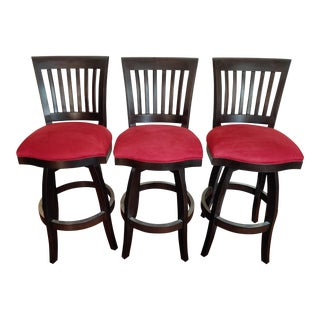 Red Upholstered Barstools- Set of 3 For Sale