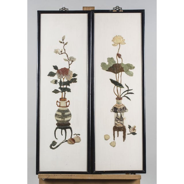 Vintage Chinese Hard Stone Wall Sculpture Panels - Set (4) - Image 2 of 3