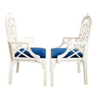 Vintage Pagoda Fretwork Chinoiserie Style Dining Chairs - a Pair