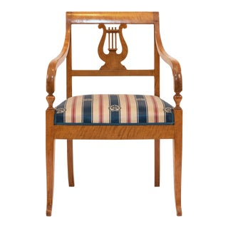 Swedish Biedermeier Birch Arm Chair For Sale