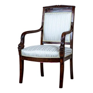 19th Century Biedermeier Mahogany Armchair For Sale
