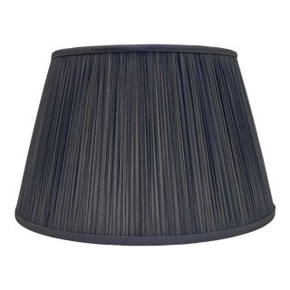 "Shirred Silk Lamp Shade 14"", Navy Blue For Sale"