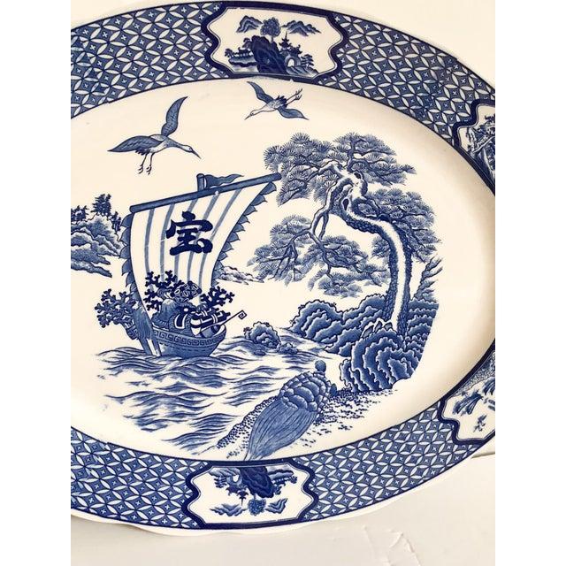 Asian Large Blue & White Japanese Platter For Sale - Image 3 of 5