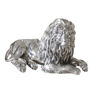 Italian Sterling Silver Lion Sculpture For Sale
