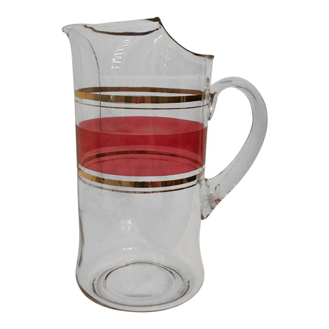 Tall Cranberry and Gold Stripe Glass Pitcher For Sale