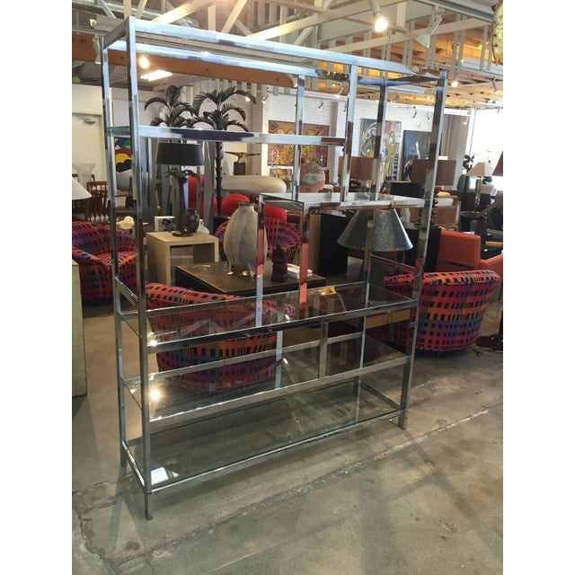 Milo Baughman Attributed Chrome and Glass Etagere For Sale In Palm Springs - Image 6 of 6