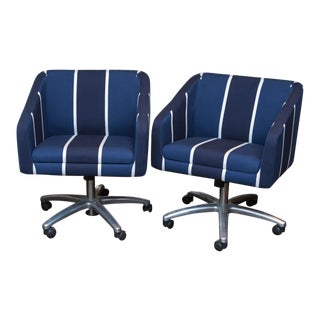 Upholstered Swivel Office Chairs - a Pair