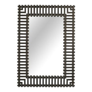 Arteriors Organic Modern Distressed Gray Marshall Wall Mirror For Sale