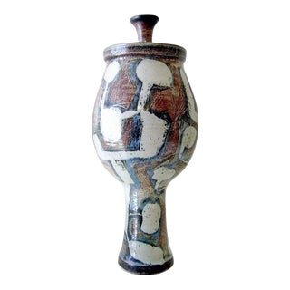 Larry Goldman California Studio Abstract Modernist Stoneware Lidded Urn For Sale