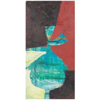 1950s Expressionist Painting on Wood Panel For Sale