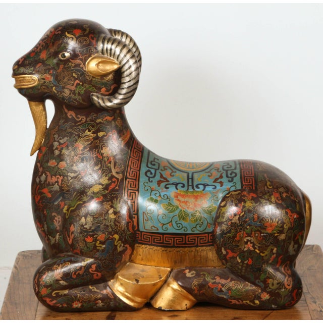 Gold Asian Wood Hand-Painted Figure of a Recumbent Ram For Sale - Image 7 of 7
