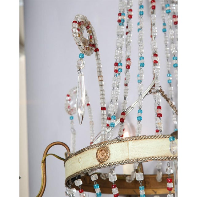 Early 20th Century Multi-Colored Glass Beaded Italian Chandelier For Sale - Image 5 of 11