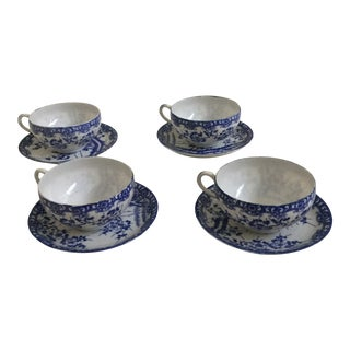 1950s England Blue & White Tea Cups & Saucers- 8 Pieces For Sale