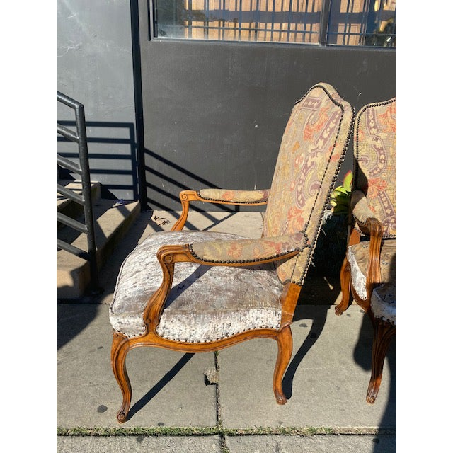 19th Century French Walnut Petite Point Neelde Point Arm Chairs- A Pair For Sale In Los Angeles - Image 6 of 12
