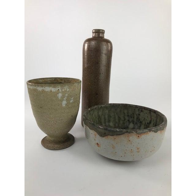 Vintage Stoneware Studio Pottery - Set of 3 For Sale - Image 13 of 13
