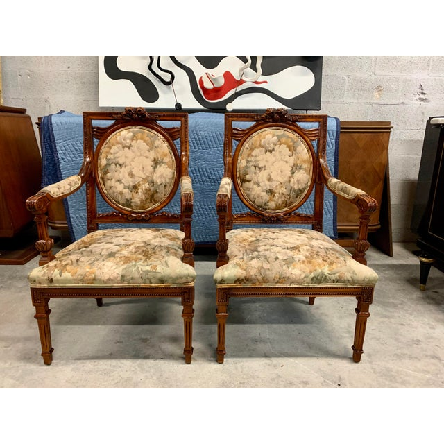 Brown 1920s Vintage French Louis XVI Solid Mahogany Accent Chairs or Bergère Chairs - a Pair For Sale - Image 8 of 13