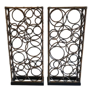 Modern Bamboo Room Divider Screens - A Pair For Sale
