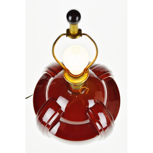 Art Deco Art Deco Oxblood Reverse Painted Glass Table Lamp For Sale - Image 3 of 13